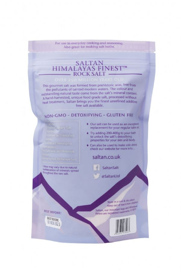 10 x 1kg Premium Himalayan 2-5mm Light Pink Coarse Saltan™ Salt Retail Pouches wholesale - Food Grade on sale www.saltanltd.com